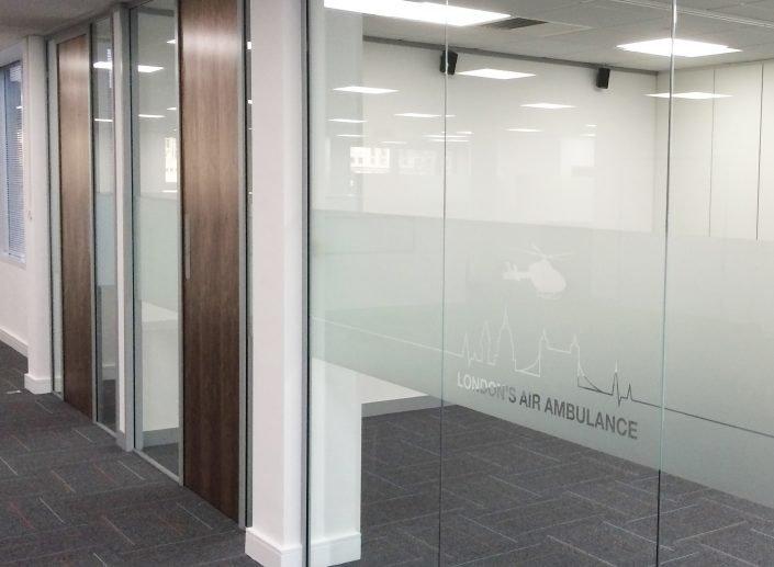 London's Air Ambulance | Glass Partitioning | Office Partitioning | Office Fit-out | Sussex | Surrey | London | Hampshire | Kent