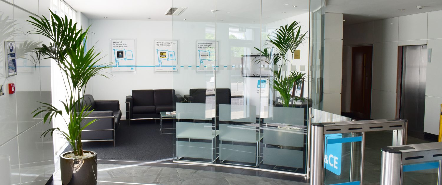 B&CE | Reception Refurbishment | Glass Partitioning | Reception Furniture | Sussex | Surrey | London | Hampshire | Kent