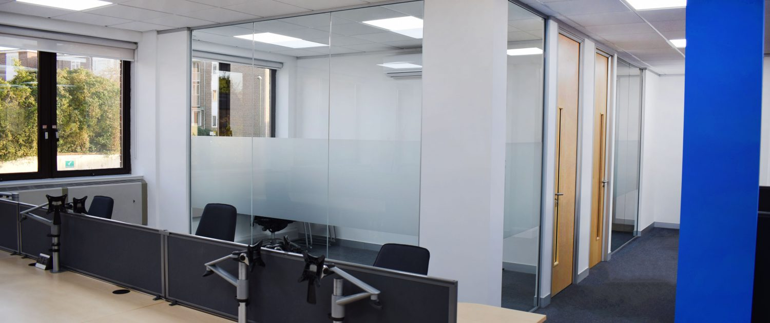 Glass partitioning | Office Refurbishment | Office Design | Office Fit-out | Sussex | Surrey | Hampshire | London | Kent